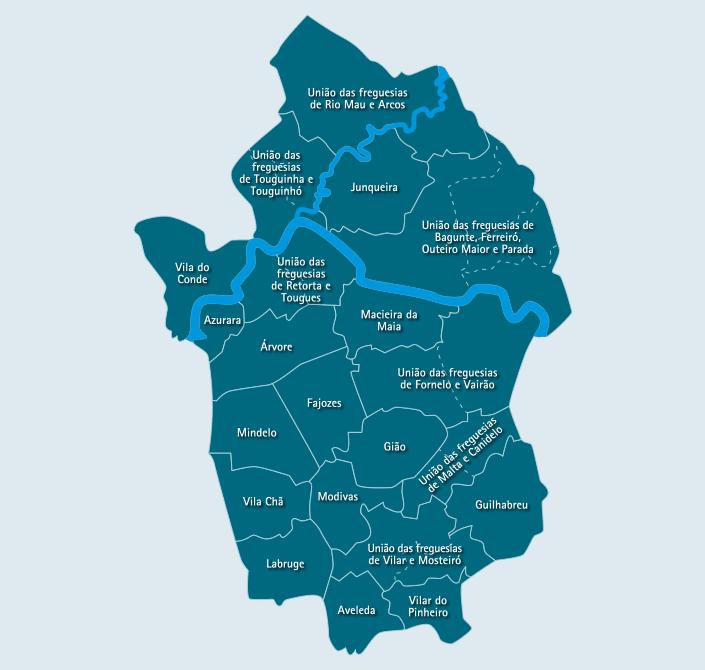 vila do conde mapa CM Vila do Conde / Juntas de Freguesia vila do conde mapa